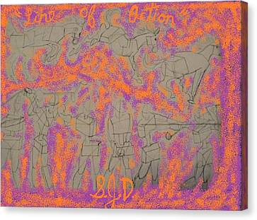 Line Of Action Canvas Print by Joe Dillon