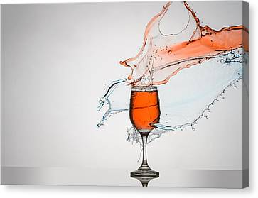 Red Wine Splash Canvas Print - Liquid Splash Wine Glass by Andy Astbury
