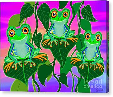 3 Little Frogs On Leafs Canvas Print by Nick Gustafson