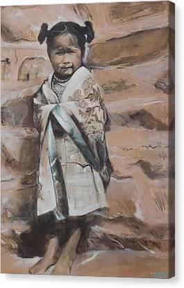 Little Hopi Girl Canvas Print