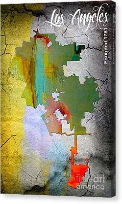 Los Angeles Map Watercolor Canvas Print by Marvin Blaine