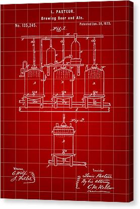 Louis Pasteur Beer Brewing Patent 1873 - Red Canvas Print by Stephen Younts