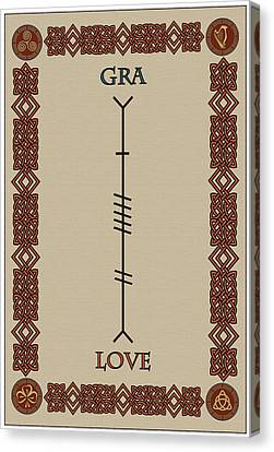 Love Written In Ogham Canvas Print by Ireland Calling