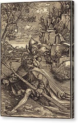 Saint Christopher Canvas Print - Lucas Cranach The Elder German, 1472 - 1553 by Quint Lox