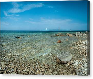 Canvas Print featuring the photograph Mackinac Bridge by Larry Carr