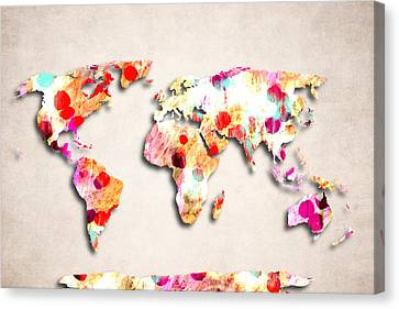 Map Of The World - Abstract Design Canvas Print by World Art Prints And Designs
