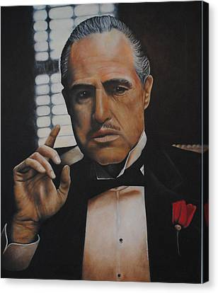 Canvas Print featuring the painting Marlon Brando The Godfather by David Dunne