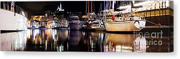 Marseille France Panorama At Night Canvas Print by Michal Bednarek