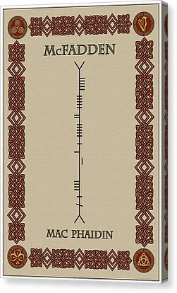 Mcfadden Written In Ogham Canvas Print