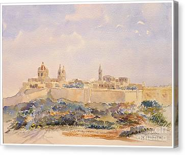 Mdina Skyline Canvas Print by Godwin Cassar
