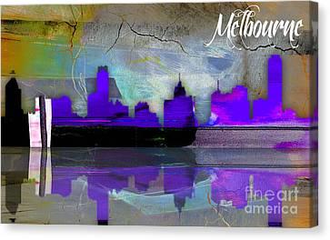 Melbourne Australia Skyline Watercolor Canvas Print