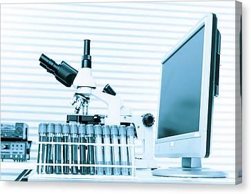 Laboratory Equipment Canvas Print - Microscope And Computer by Wladimir Bulgar