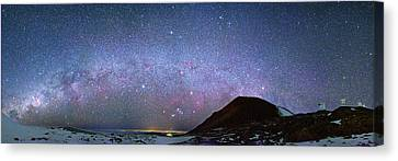 Keck Telescope Canvas Print - Milky Way Over Telescopes On Hawaii by Walter Pacholka, Astropics