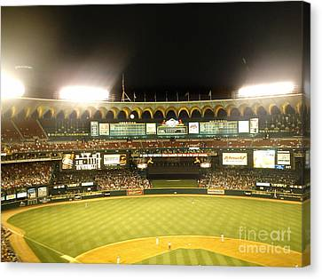 Canvas Print featuring the photograph Moon In The Arches by Kelly Awad