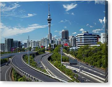 Motorways And Skytower, Auckland, North Canvas Print by David Wall