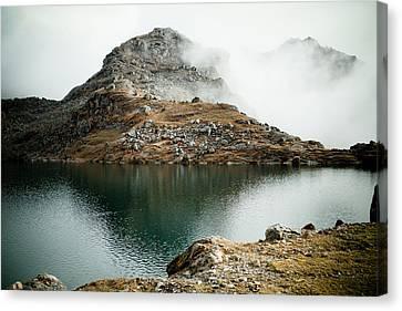 Mountain Lake Gosaikunda Himalayas Canvas Print by Raimond Klavins