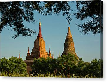 Myanmar Bagan Red Brick Temple Glows Canvas Print by Inger Hogstrom