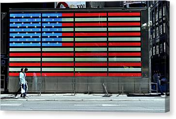 Neon American Flag Canvas Print by Allen Beatty