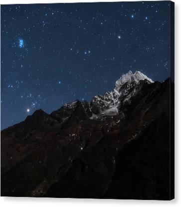 Snowy Night Canvas Print - Night Sky Over The Himalayas by Babak Tafreshi