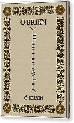 Canvas Print featuring the digital art O'brien Written In Ogham by Ireland Calling