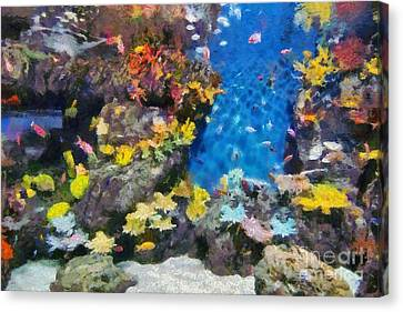 Ocean Aquarium In Shanghai Canvas Print by George Atsametakis