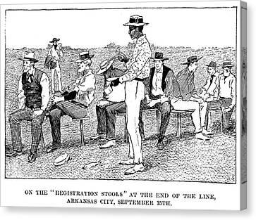 Arkansas Canvas Print - Oklahoma Land Rush, 1893 by Granger