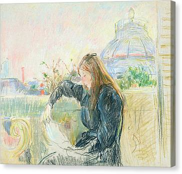 On The Balcony Canvas Print by Berthe Morisot