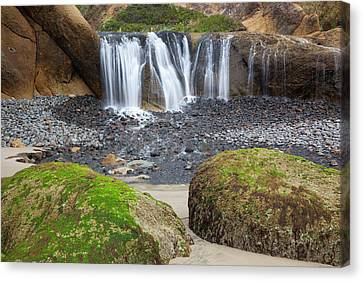 Or, Oregon Coast, Waterfall And Rocks Canvas Print by Jamie and Judy Wild