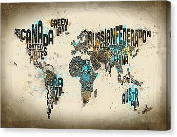 World Map Canvas Print - Paint Splashes Text Map Of The World by Michael Tompsett