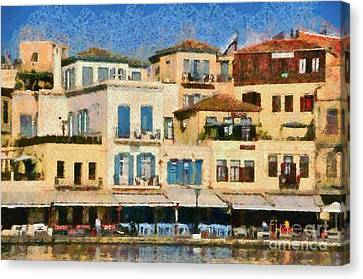 Painting Of The Old Port Of Chania Canvas Print