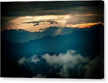 Panaramic Sunset Himalayas Mountain Nepal Canvas Print by Raimond Klavins