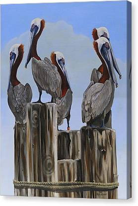 Canvas Print featuring the painting Pelicans Five by Phyllis Beiser