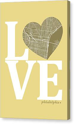 Philadelphia Street Map Love - Philadelphia Pennsylvania Texas R Canvas Print by Jurq Studio