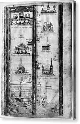 Pilgrims' Map, C1250 Canvas Print by Granger