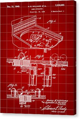 Pinball Machine Patent 1939 - Red Canvas Print by Stephen Younts