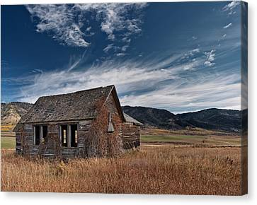 Old Cabins Canvas Print - Pioneer Cabin  by Leland D Howard