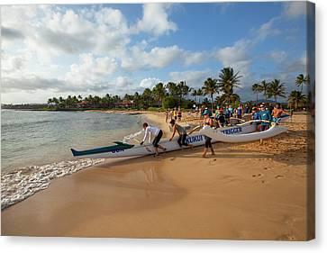 Canoe Canvas Print - Poipu Beach Park, Poipu, Kauai, Hawaii by Douglas Peebles