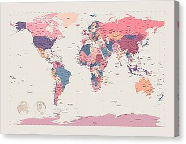 Political Map Of The World Canvas Print by Michael Tompsett