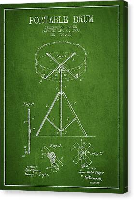 Portable Drum Patent Drawing From 1903 - Green Canvas Print by Aged Pixel