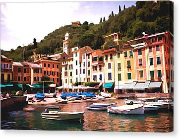 Portofino Harbor 2 Canvas Print by Allen Beatty
