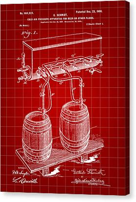 Pressure Apparatus For Beer Patent 1897 - Red Canvas Print by Stephen Younts