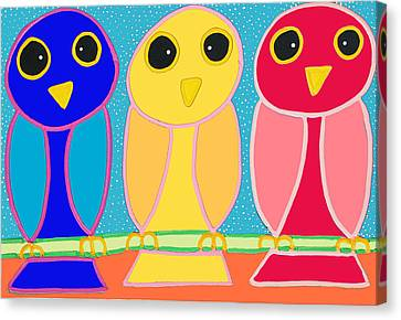 3 Primary Colored Owls Canvas Print by Matthew Brzostoski
