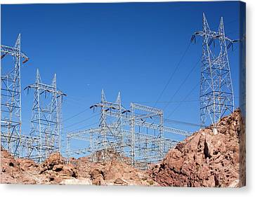 Pylons Taking Hydro Electricity Canvas Print by Ashley Cooper