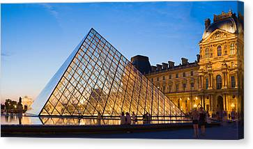 Pyramid In Front Of A Museum, Louvre Canvas Print by Panoramic Images