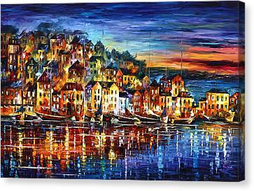 Port Town Canvas Print - Quiet Town by Leonid Afremov