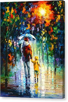 Rainy Walk With Daddy Canvas Print by Leonid Afremov