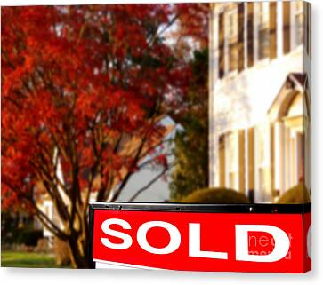 Real Estate Realtor Sold Sign And House For Sale Canvas Print by Olivier Le Queinec