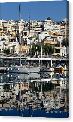 Reflections In Mikrolimano Port Canvas Print