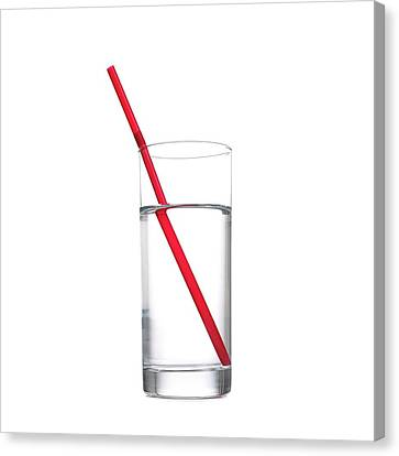 Refraction In A Glass Of Water Canvas Print by Science Photo Library