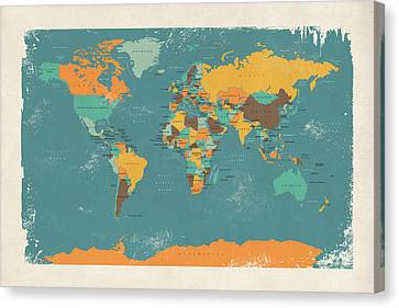 Retro Political Map Of The World Canvas Print